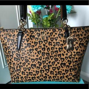 COACH Wild Heart Ava Tote Cheetah Print F23238